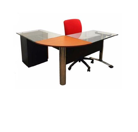 escritorio l en vidrio muebles aya muebles oficina